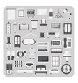 flat icons bedroom and furniture set vector image