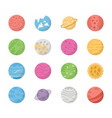 flat space planets icons vector image