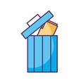 folder document in recycle bin vector image vector image