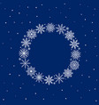 frame of snowflakes on blue background vector image vector image