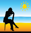 girl sitting on the chair on the beach vector image