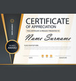 gold and black elegance horizontal certificate vector image vector image