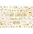 gold merry christmas happy new year 2019 greeting vector image vector image