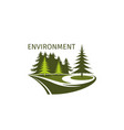 green trees forest environment icon vector image vector image