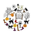 halloween decorations background vector image