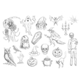 Halloween holiday creepy and horror sketch symbols vector image vector image