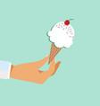hand holding ice cream stick vector image