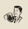 happy man holding a beer mug retro vector image vector image