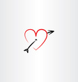 heart pierced with arrow icon vector image vector image