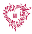 I love music concept single color design vector image vector image