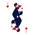 jack of hearts with top hat flowers and thorns vector image vector image