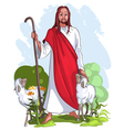 jesus is a good shepherd vector image vector image