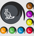 Kangaroo Icon sign Symbols on eight colored vector image