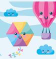 kawaii hot air balloon kite clouds sky cartoon vector image vector image