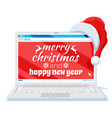 laptop is in santa claus hat isolated vector image