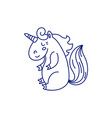 linear template of adorable unicorn vector image vector image