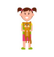 little girl with ponytails stands and holds cat vector image vector image