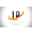 lp l p letter logo with fire flames design and vector image vector image