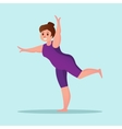 Obese young woman yoga Workout Funny cartoon vector image vector image