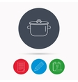 Pan icon Cooking pot sign vector image