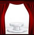 podium under red theater curtain ceremony vector image vector image
