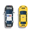 Police and taxi cars top view set vector image vector image