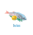 polygonal of sea bass with lemon vector image vector image