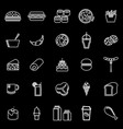 popular food line icons on black background vector image