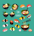 ramen sushi set time for ramen vector image