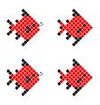 red pixel fish geometric fish vector image