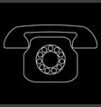 retro telephone white color path icon vector image vector image