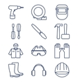set line icons for diy tools and work clothes vector image