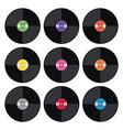 set music retro vinyl record flat icons vector image