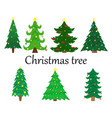 set of 7 christmas trees with decoration vector image vector image