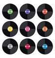 set of music retro vinyl record flat icons vector image