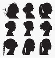 silhouettes woman face vector image