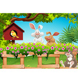 Three rabbits in the garden vector image vector image