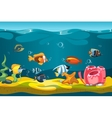 Underwater sea with fishes and rocks vector image vector image