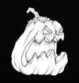 white in black evil halloween pumpkin vector image vector image