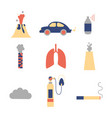 air pollution flat icon set vector image