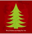 Bright red and green Christmas card with stylized vector image
