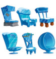set of chair interior made of ice vector image