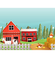 A farm with goats and chickens vector image vector image