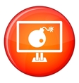 Bomb on computer monitor icon flat style vector image vector image