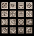 brown portuguese ceramic mosaic tile floral set vector image