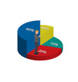 business man with infographics chart pie 3d