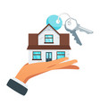 businessman hand holding house vector image vector image