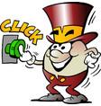 cartoon of a happy golden egg mascot activate a vector image vector image