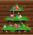 christmas tree of three wood shelves vector image vector image