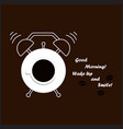 coffee cup and alarm clock vector image vector image